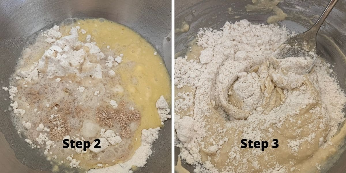 steps 2 and 3 photos of making beignets