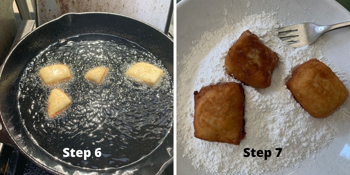 photos of steps 6 and 7 making beignets