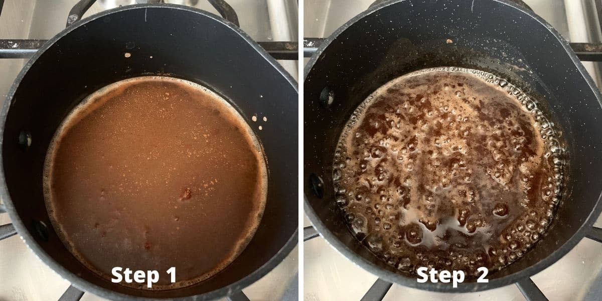 step 1 and 2 photos of making candied walnuts