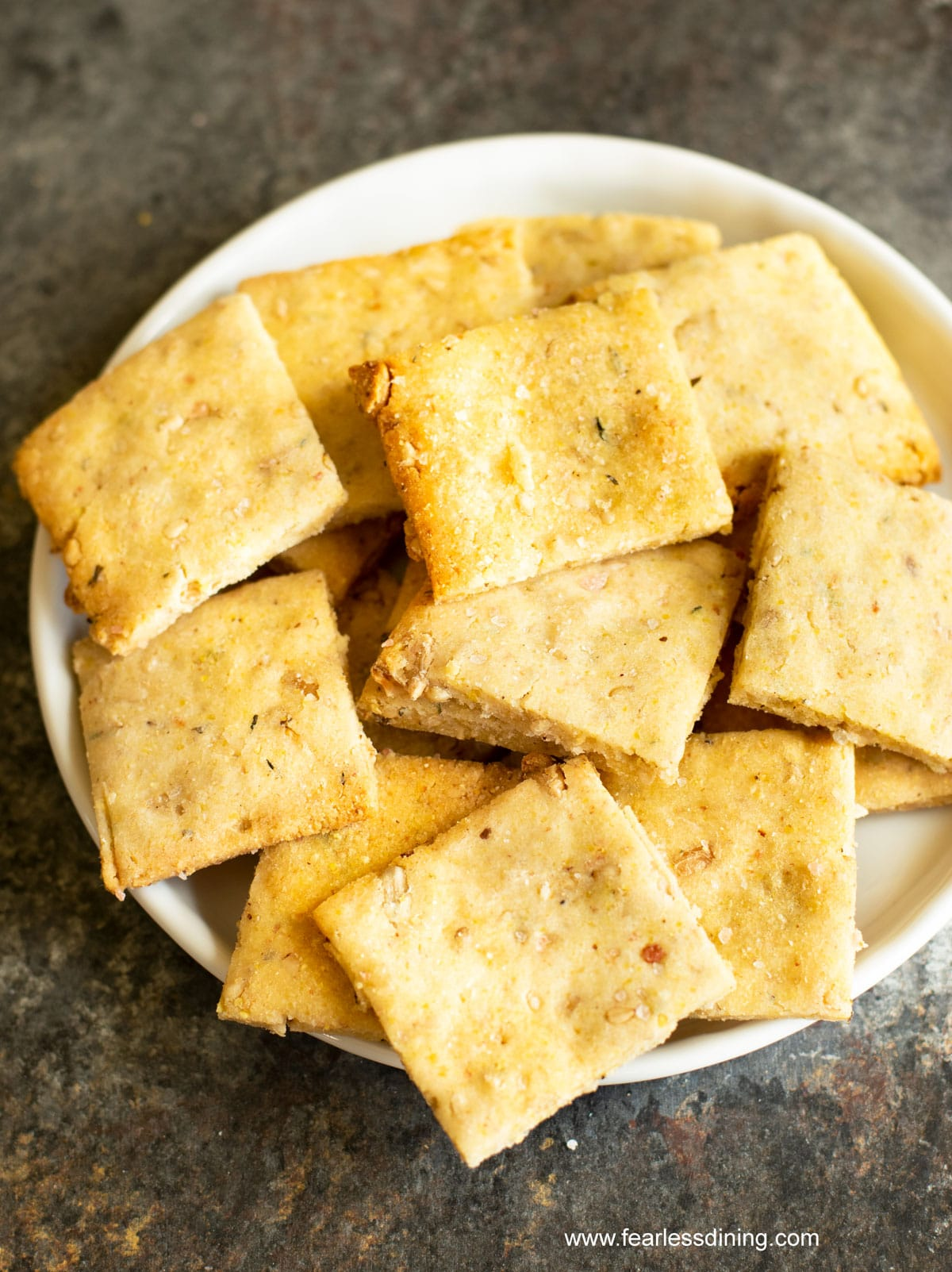 a bowl full of sourdough discard crackers