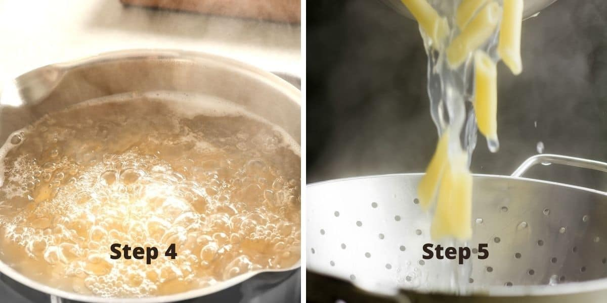cooking pasta photos steps 4 and 5