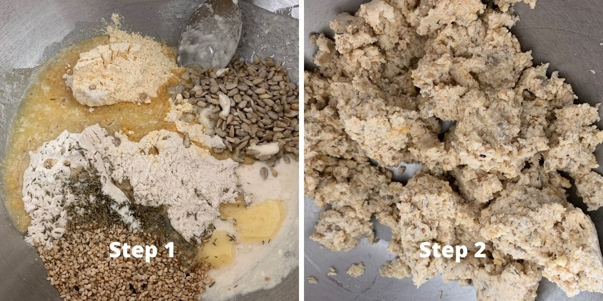 sourdough crackers steps 1 and 2 photos
