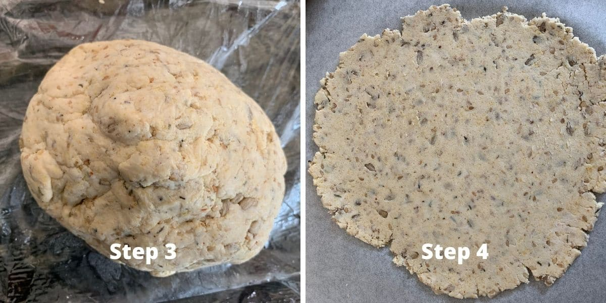 sourdough crackers steps 3 and 4 photos