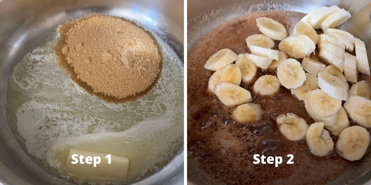 photos of steps 1 and 2 of banana flambe sundaes