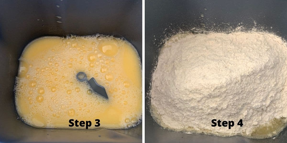 bread machine bread photos steps 3 and 4