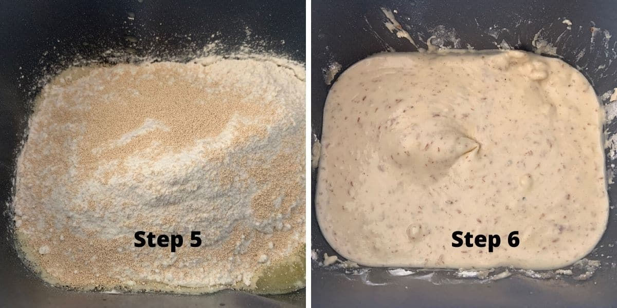 bread machine bread photos of steps 5 and 6