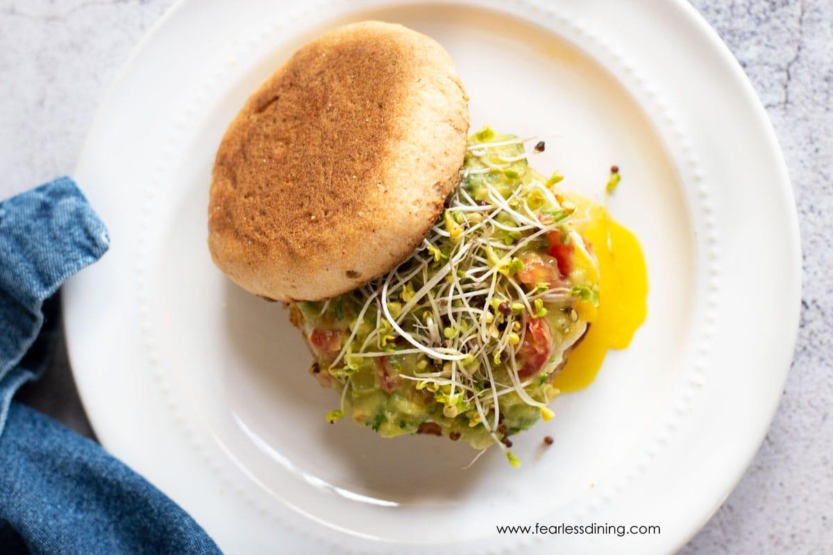 a top down look at the gluten free breakfast sandwich