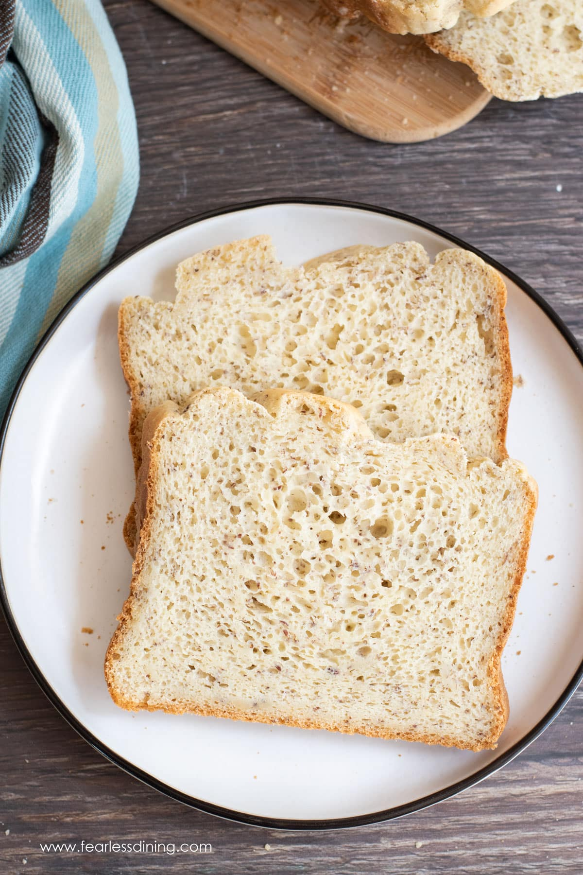 two slices of gluten free bread on a plate