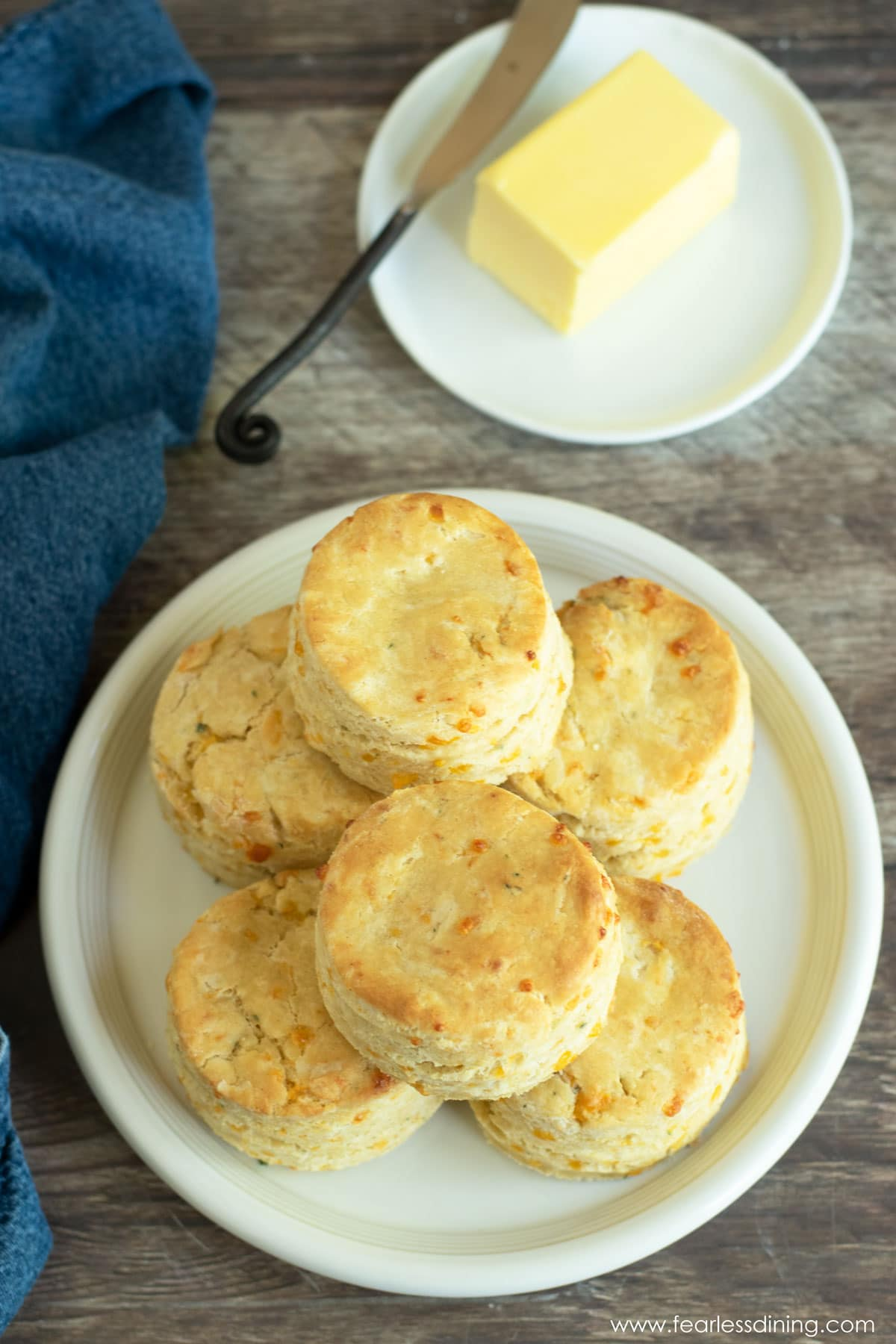 a top view of a plate full of biscuits