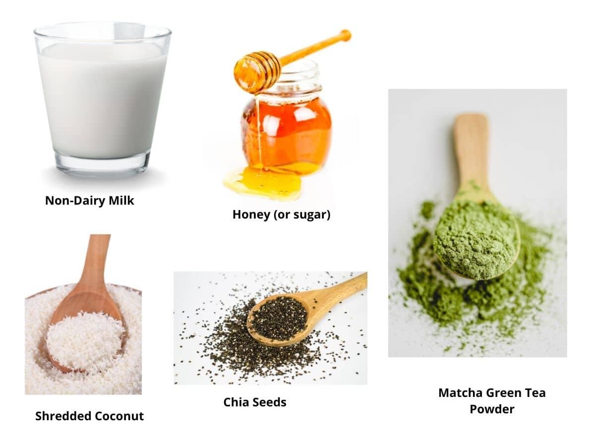 matcha chia pudding ingredients