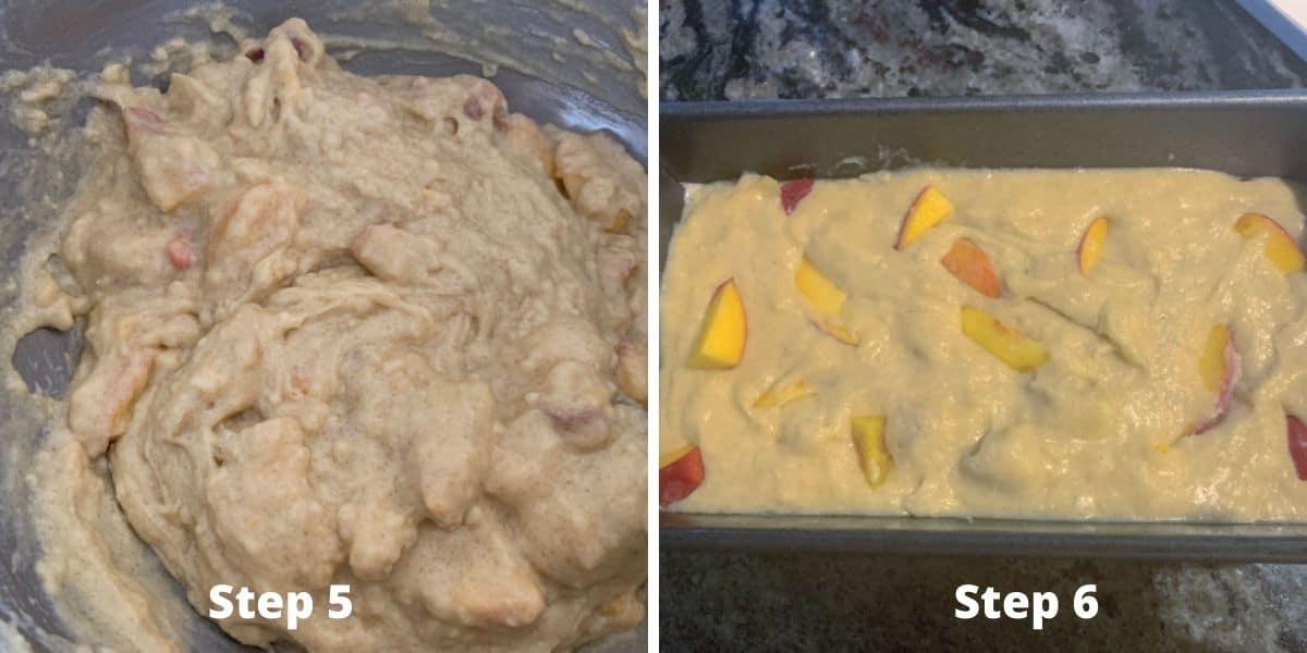 peach cake photos of steps 5 and 6