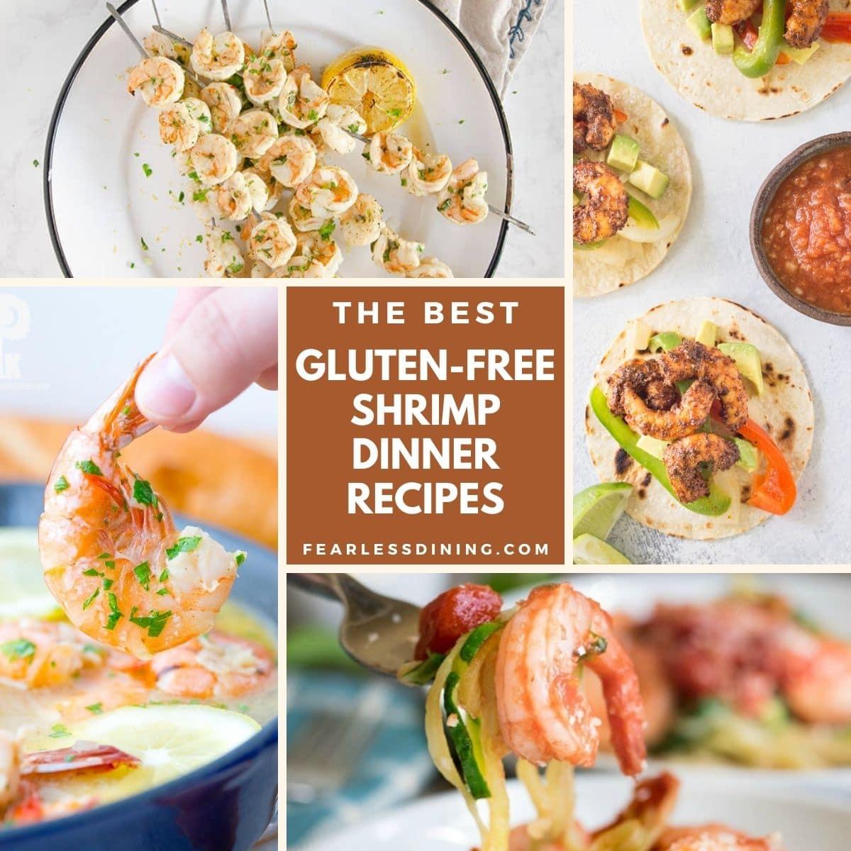 a collection of four shrimp recipe photos