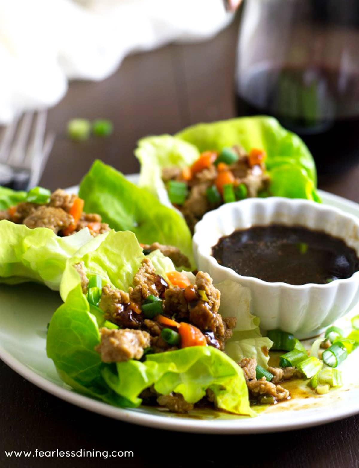 gluten free lettuce wraps on a plate