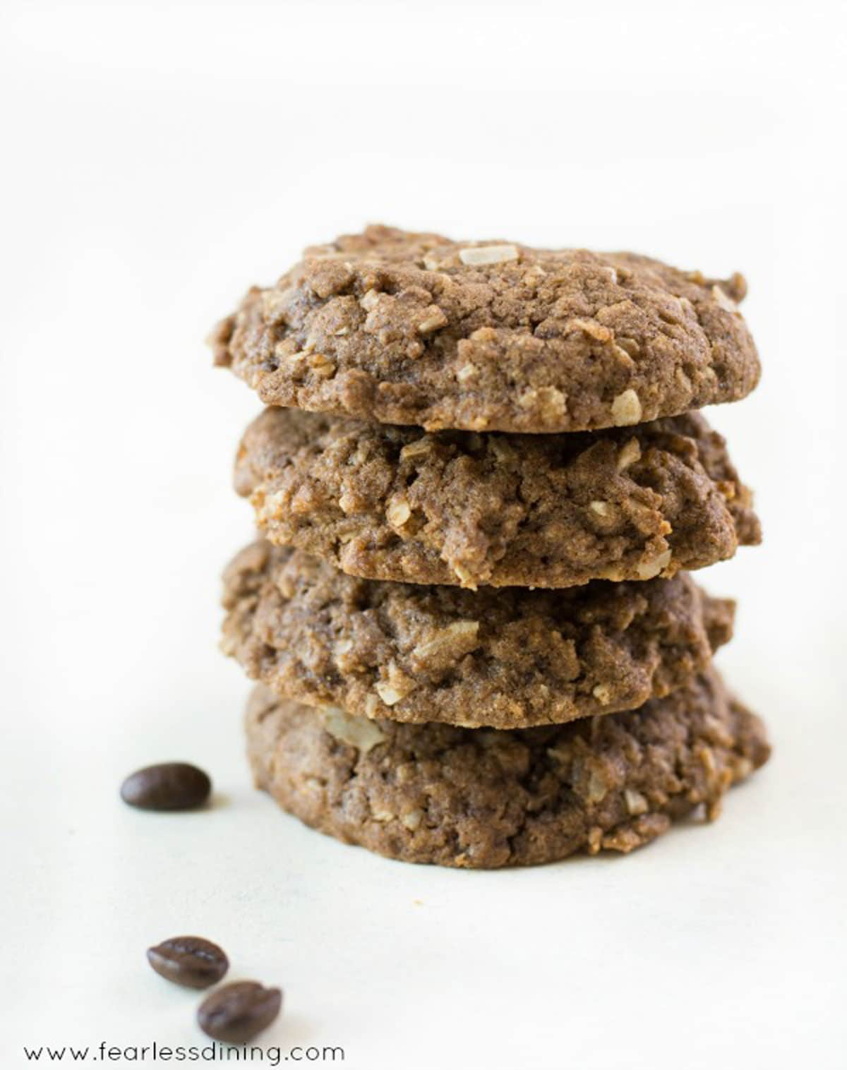 a stack of four coffee flour cookies