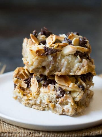 a stack of two gluten free magic bars