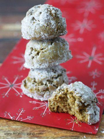 a stack of gluten free pfeffernusse cookies