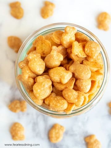 the top of a jar filled with gluten free goldfish crackers
