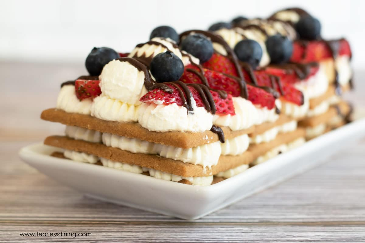 a red white and blue gluten free icebox cake on a plate