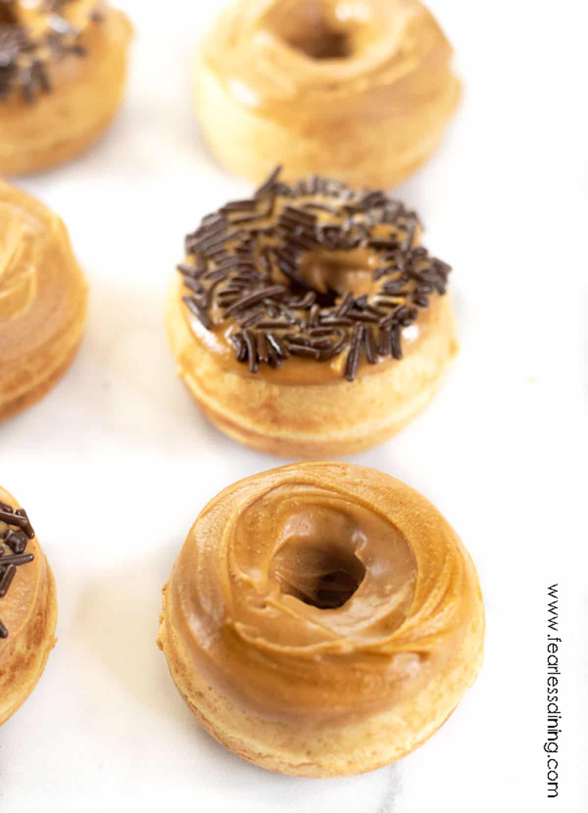 rows of peanut butter donuts