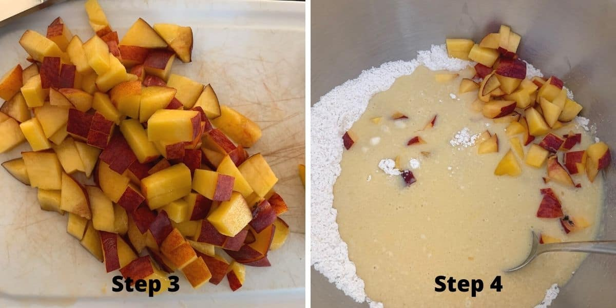 photos of steps 3 and 4 in making peach muffins