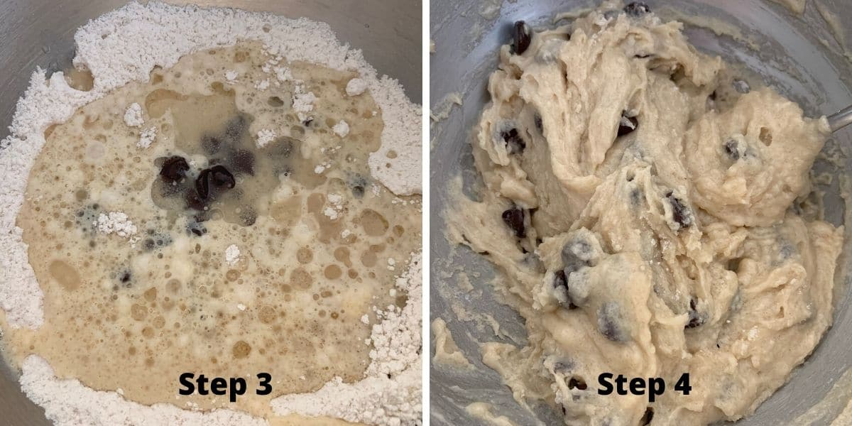 photos of steps 3 and 4 making vegan muffins