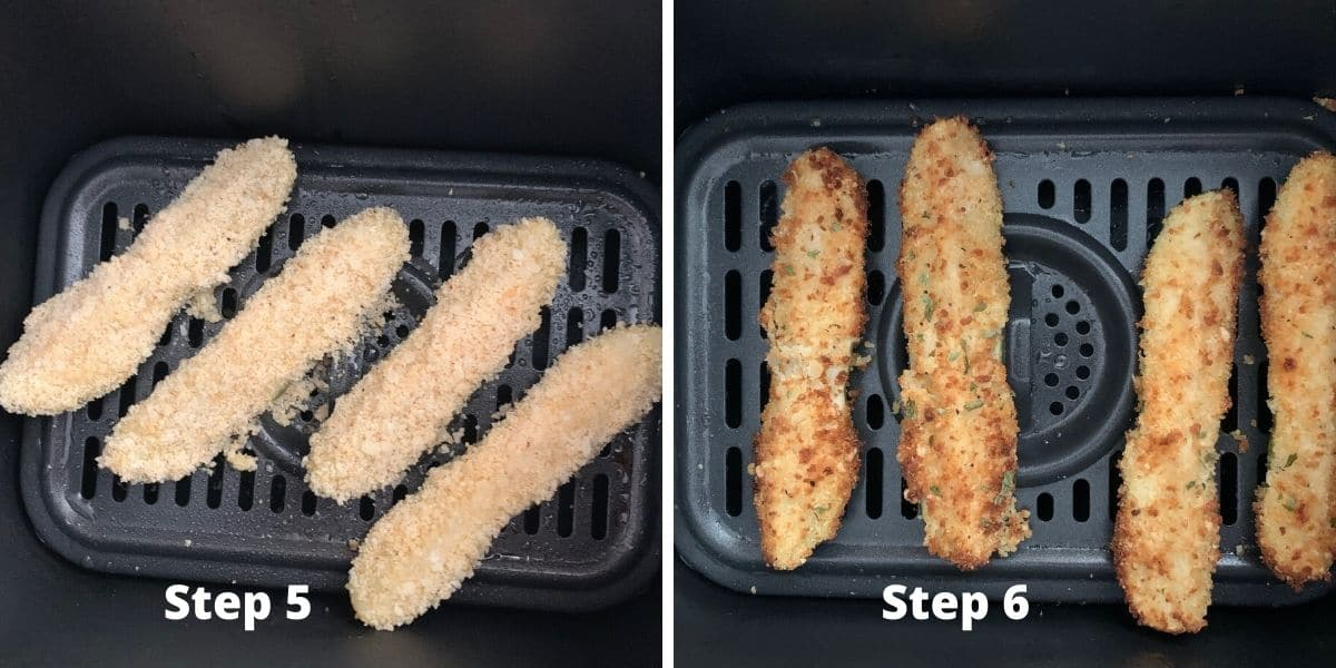 photos of steps 5 and 6 making fried pickles