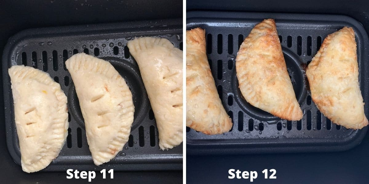 photos of steps 11 and 12 making air fryer hand pies