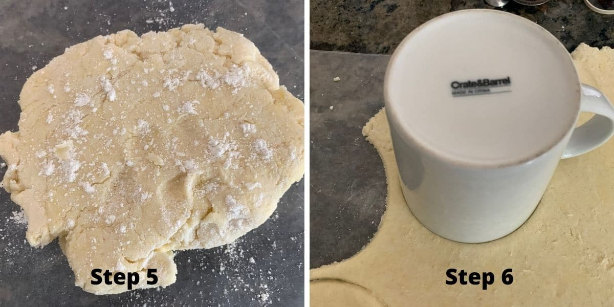 photos of steps 5 and 6 making air fryer hand pies