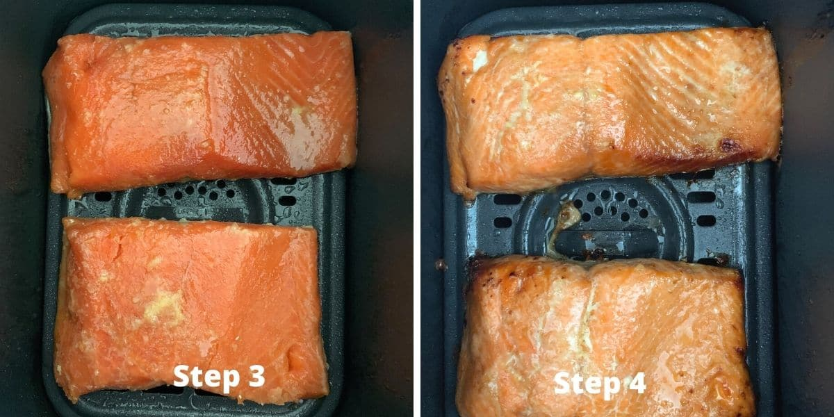 air fryer salmon photos of steps 2 and 3