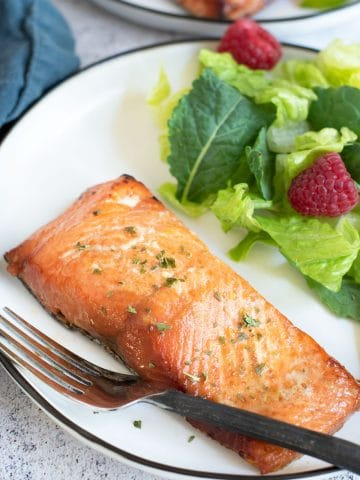 a piece of air fried salmon on a plate with salad