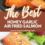 a pinterest collage pin for air fryer salmon