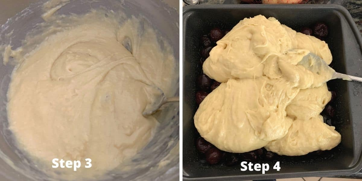 photos of steps 3 and 4 for the cake mix cobbler