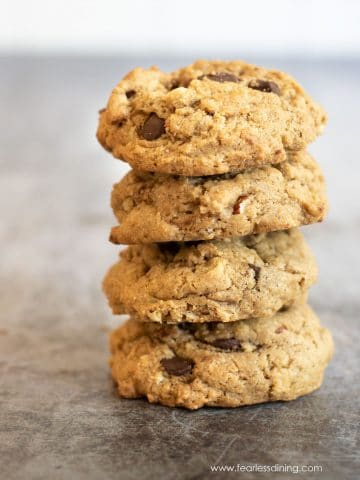 a stack of four chocolate chip hazelnut cookies