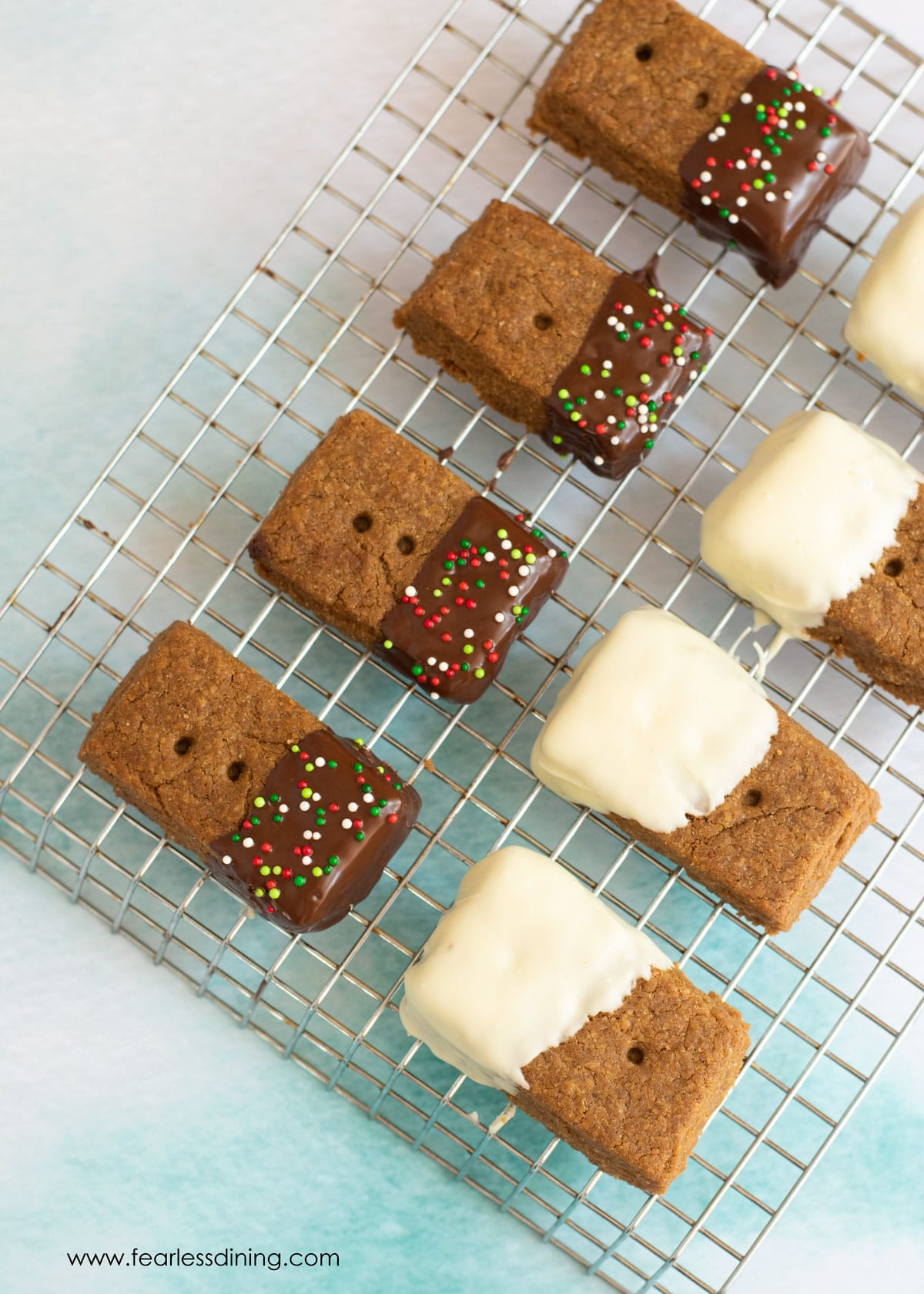 a rack filled with gingerbread shortbread