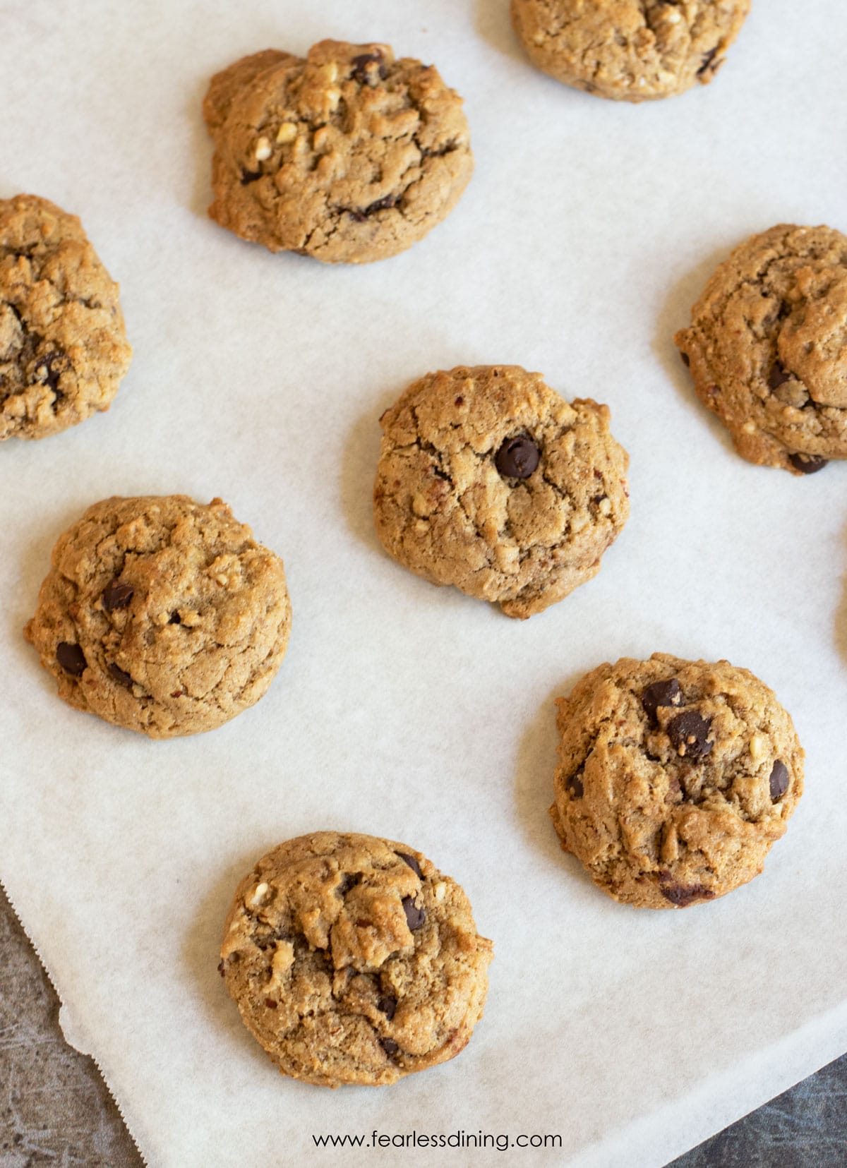 baked cookies on the baking sheet