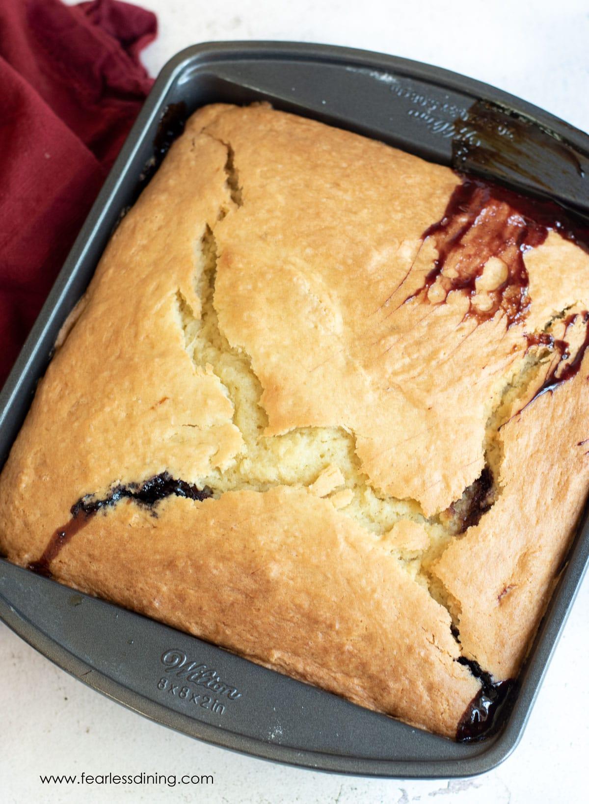 a baked cake mix cherry cobbler