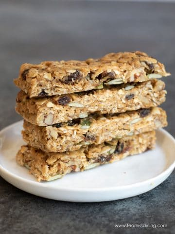 a stack of four gluten free granola bars