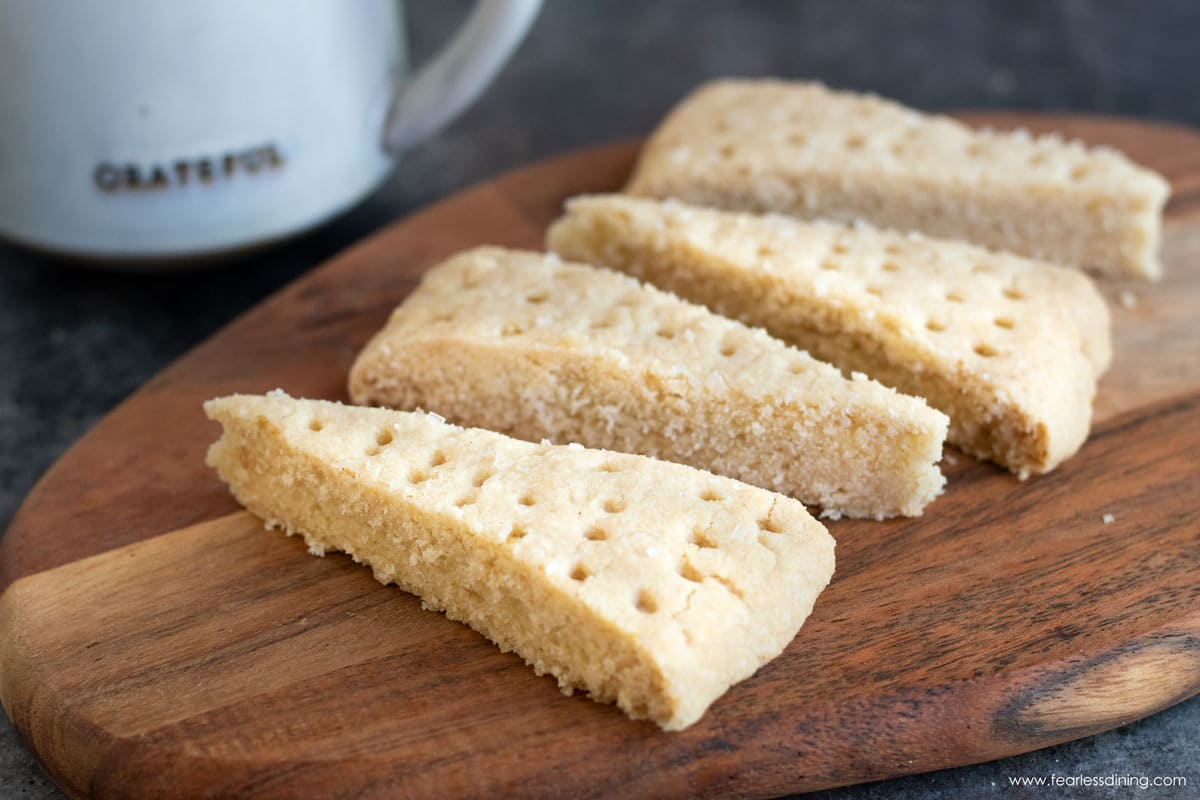 gluten free shortbread wedges on a cutting board