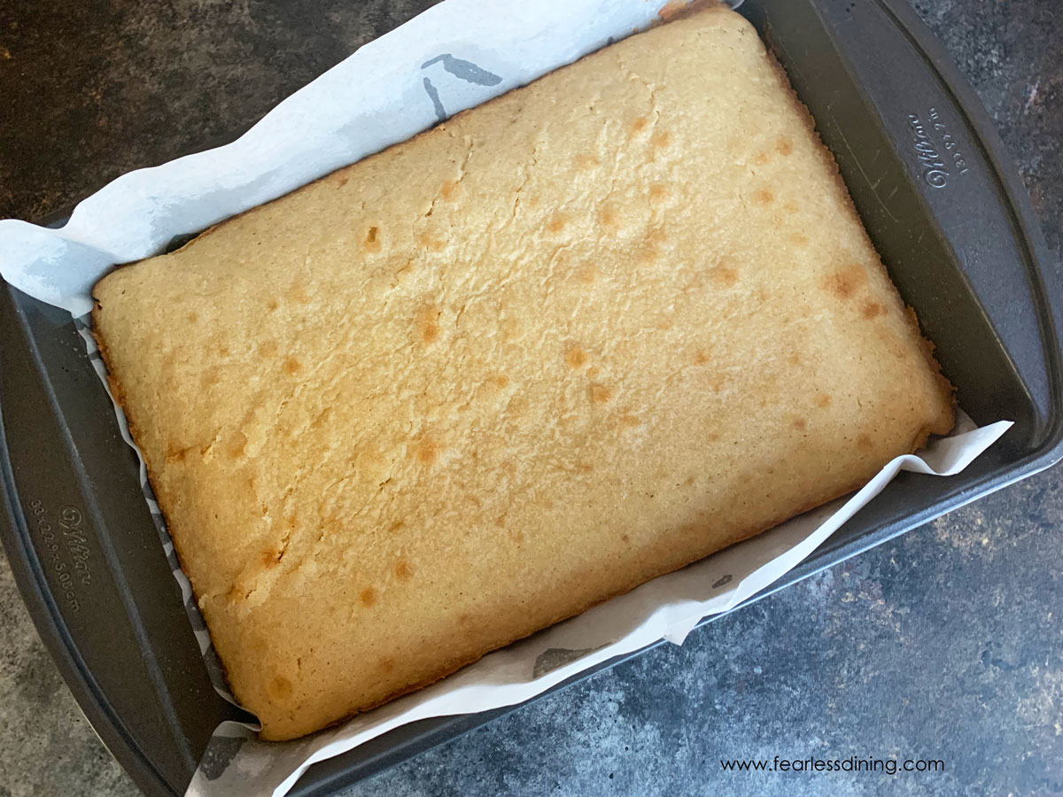 baked white chocolate brownies in a 9x13 pan