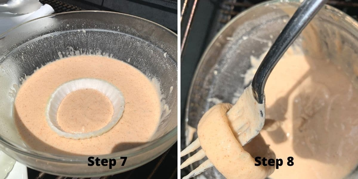 photos of steps 7 and 8 making onion rings