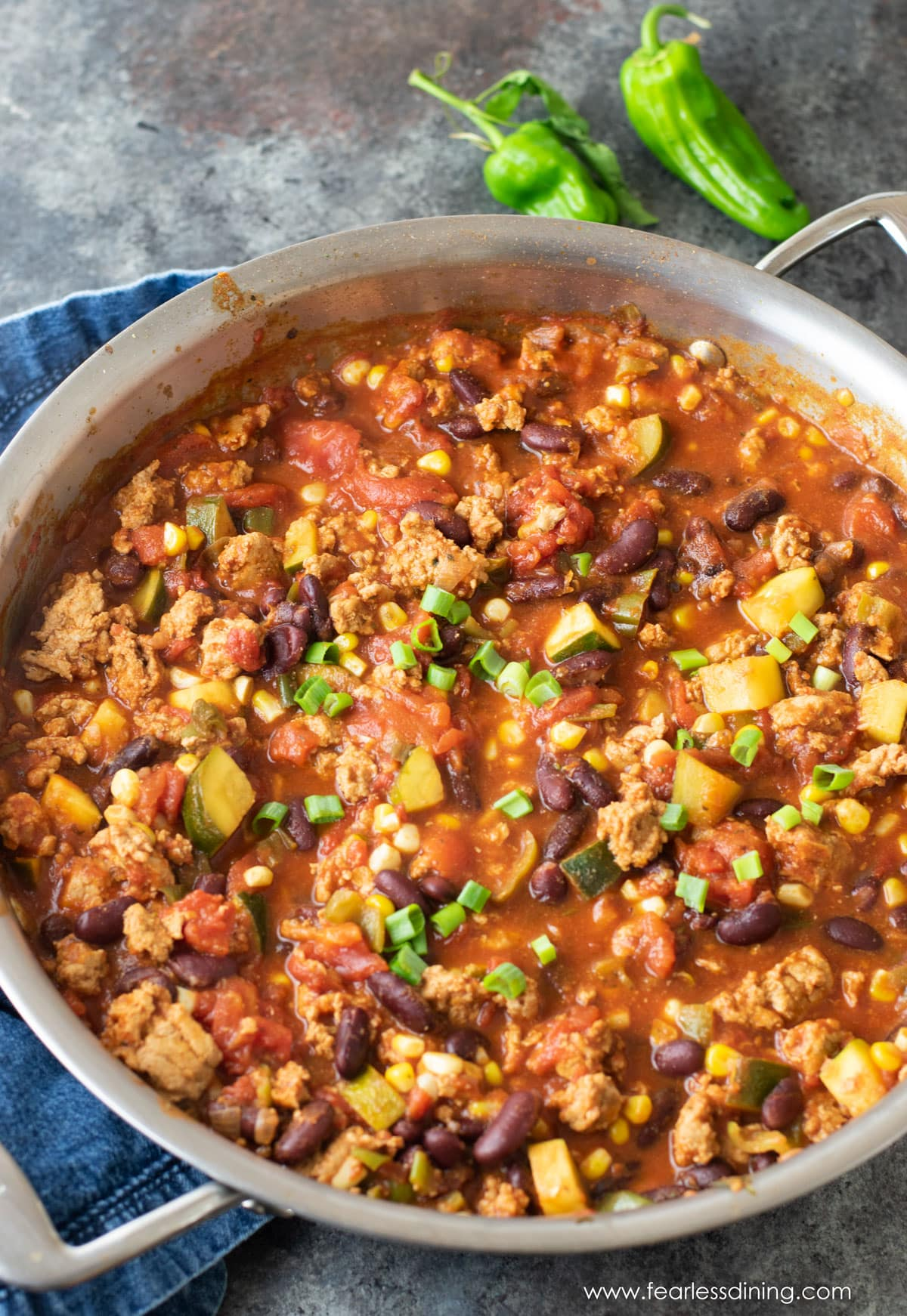 a large pan filled with chili