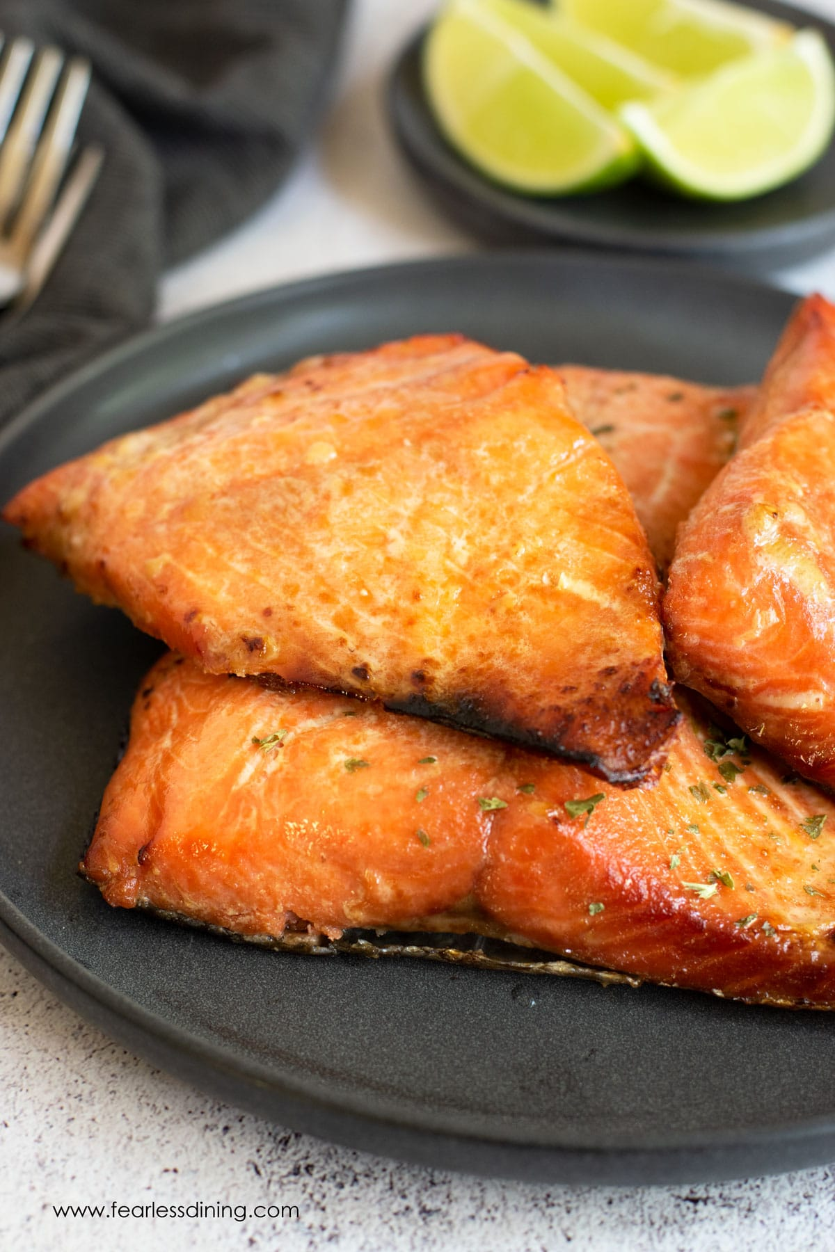 a plate of salmon ready to serve
