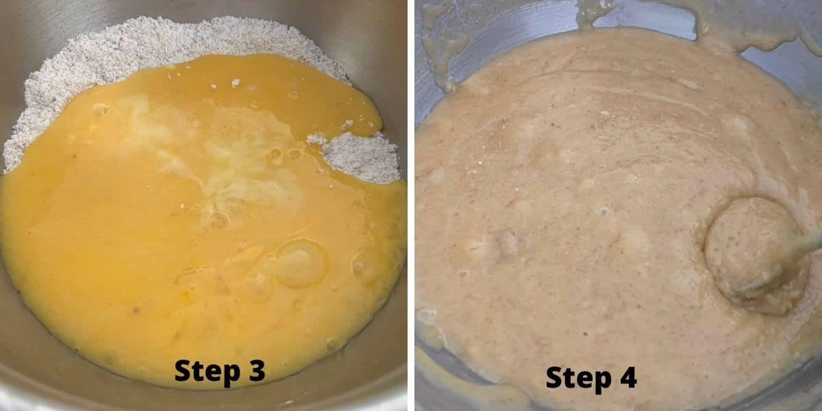 photos of steps 3 and 4 making white chocolate brownies