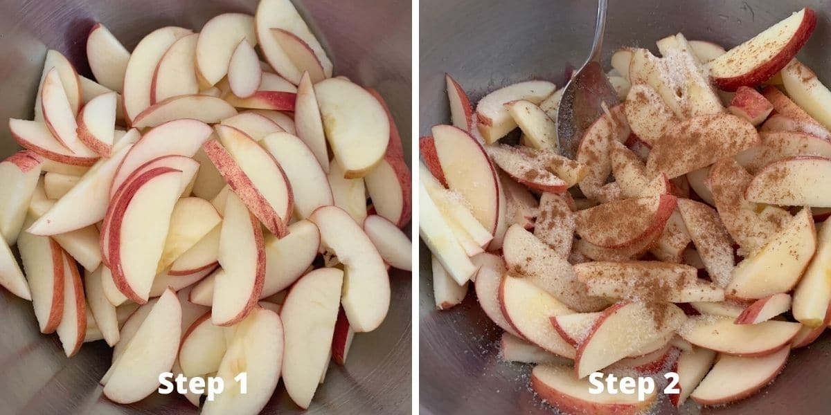 making apple crisp photos of steps 1 and 2