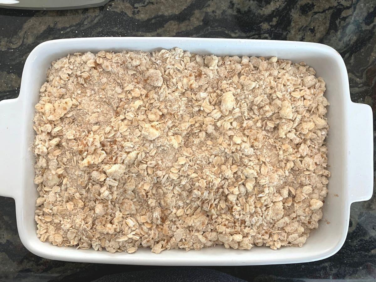 apple cobbler ready to bake