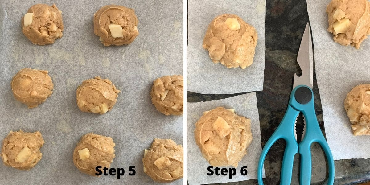 photos of steps 5 and 6 making apple fritters