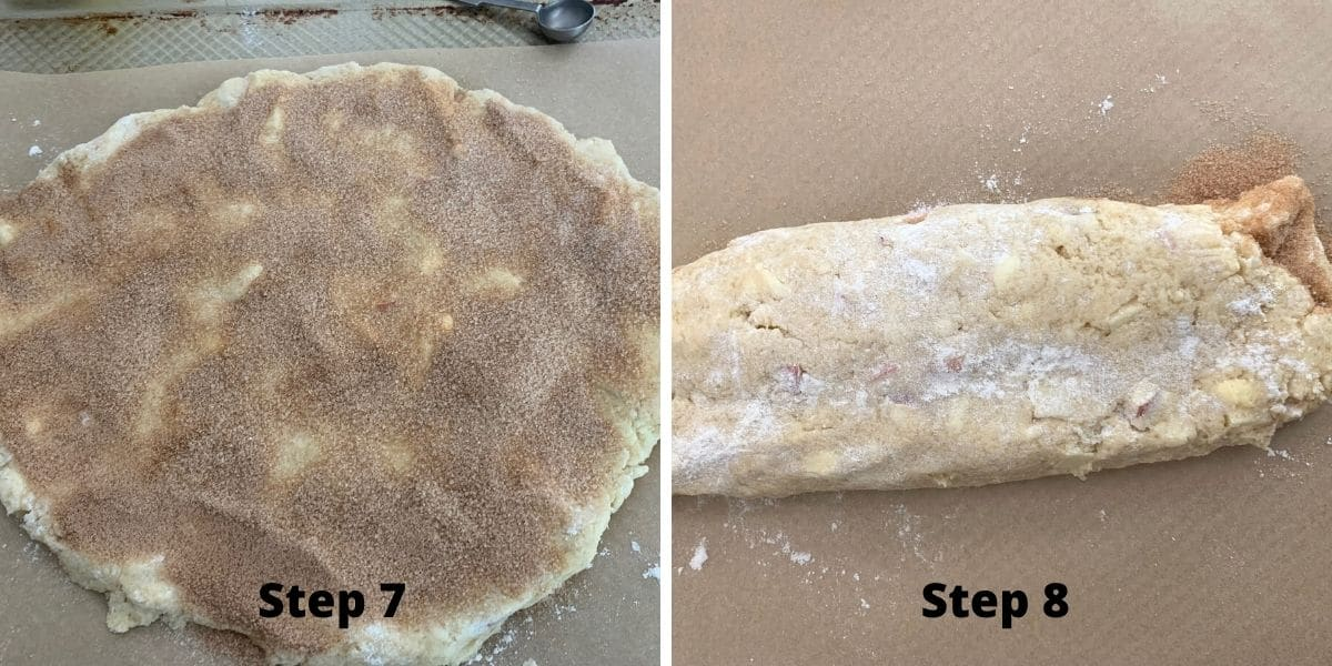 making cinnamon apple scones photos of steps 7 and 8