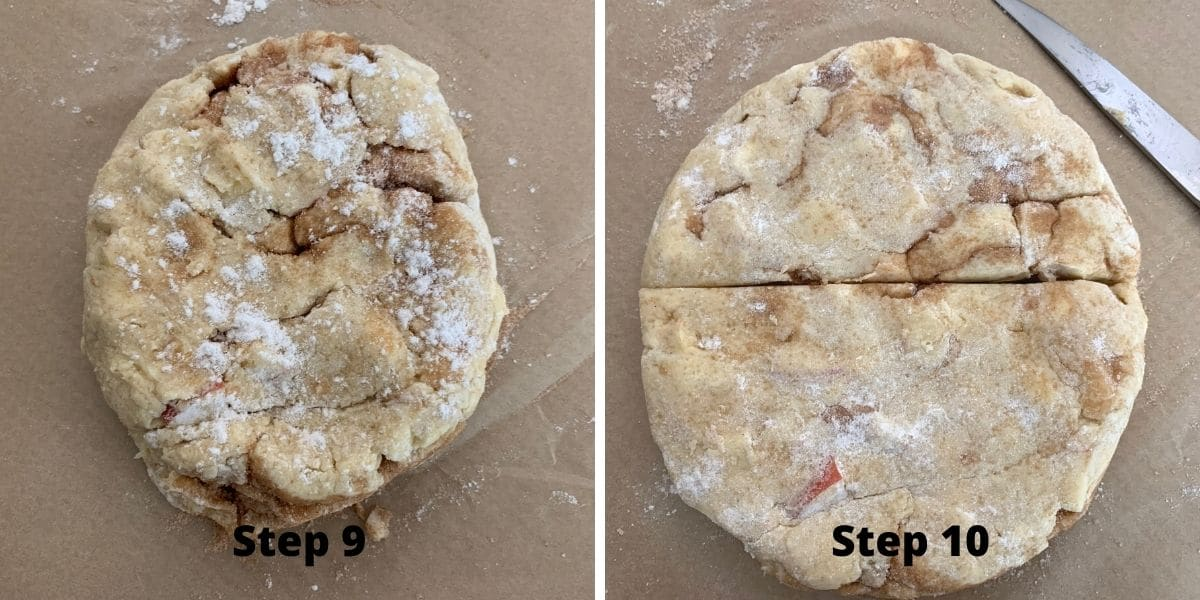 making cinnamon apple scones photos of steps 9 and 10