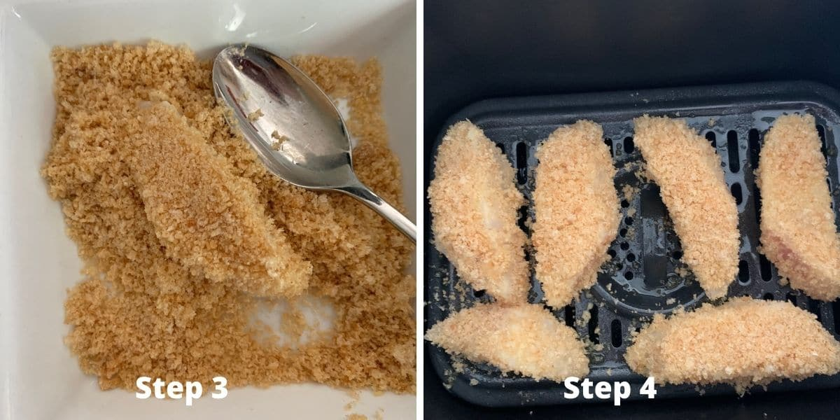 photos of steps 3 and 4 making fish sticks