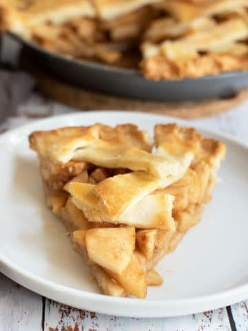 the front of a slice of gluten free apple pie